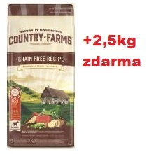 COUNTRY FARMS dog adult grain free s hovězím 11kg+2,5kg