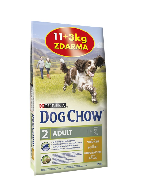 Purina Dog Chow Adult Chicken 11+3kg ZDARMA