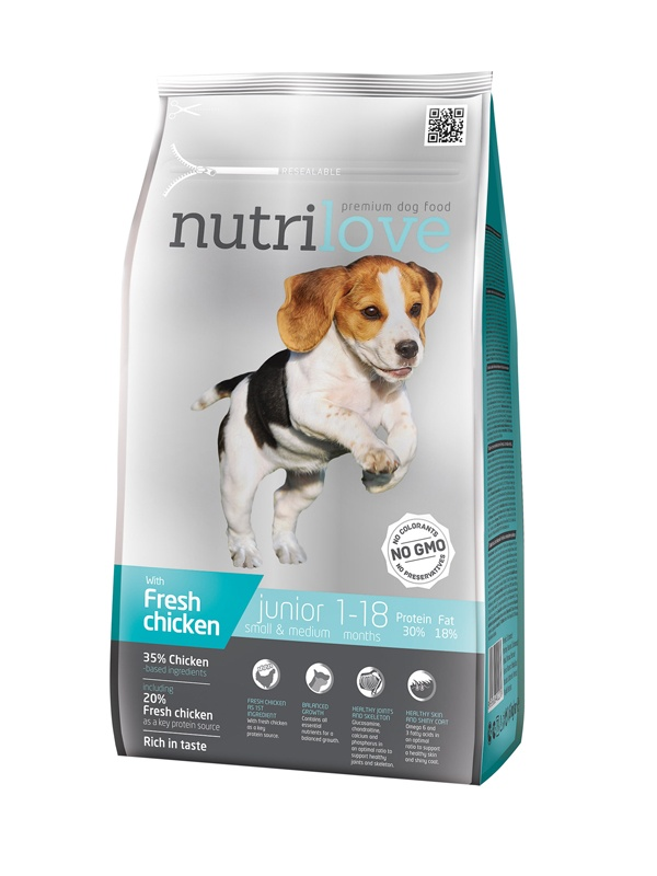 NUTRILOVE Dog Junior Small & Medium 1,6kg