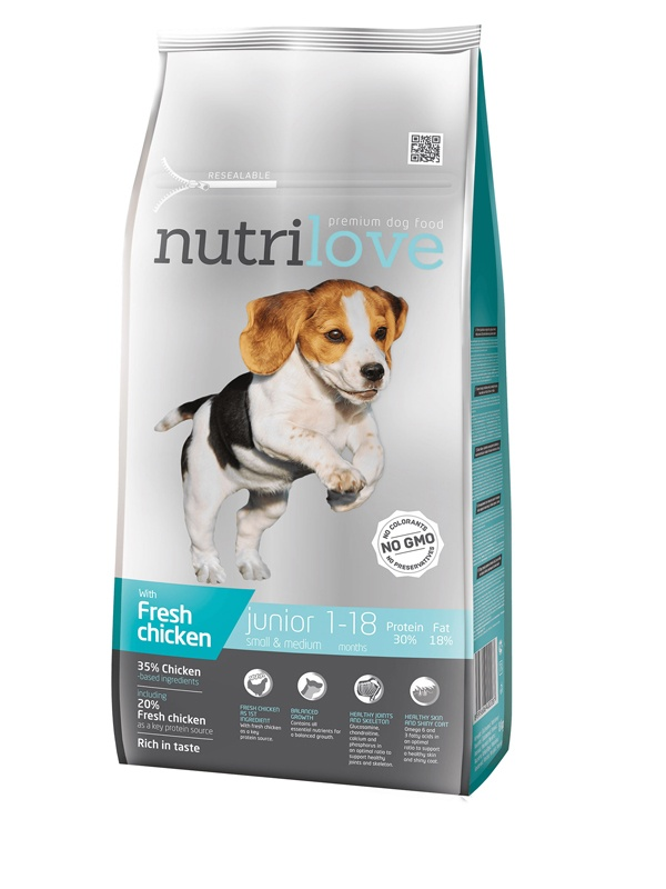 NUTRILOVE Dog Junior Small & Medium 8kg