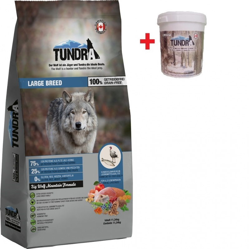 Tundra Dog Large Breed Big Wolf Mountain Formula 11,34 kg + BAREL
