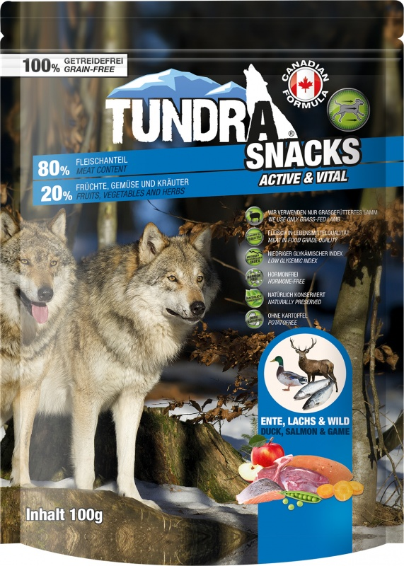 TUNDRA dog snack Duck, Salmon, Game Active & Vital 100g