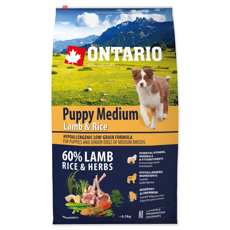 ONTARIO Puppy Medium Lamb/Rice 6,5kg