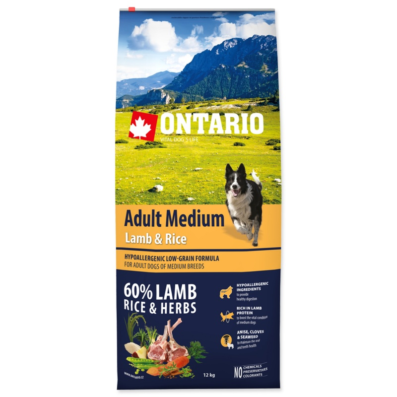 ONTARIO Adult Medium Lamb/Rice 12kg